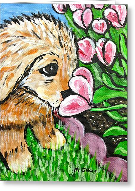 Smelling The Flowers Greeting Card
