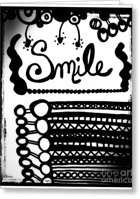 Greeting Card featuring the drawing Smile by Rachel Maynard