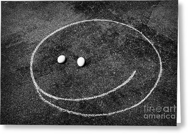 Greeting Card featuring the photograph Smiley - Chalk N Eggs by Aimelle