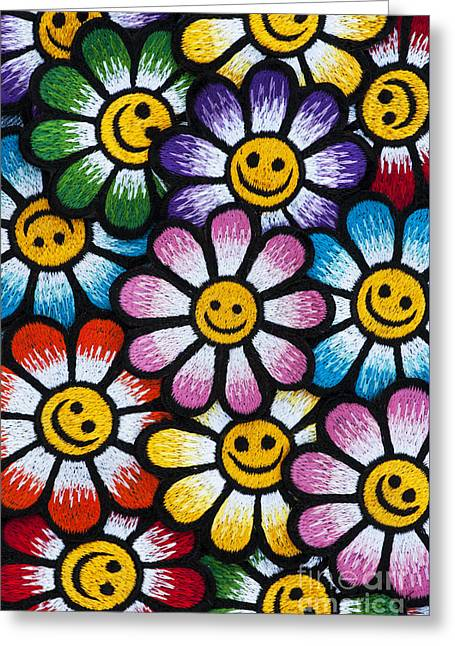 Smiley Flowers Greeting Card by Tim Gainey