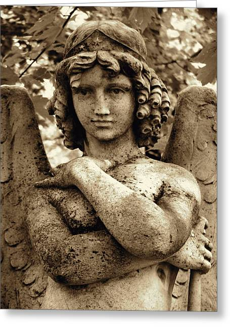 Angel Statue Greeting Cards - Smiling Angel Greeting Card by Loretta Fasan