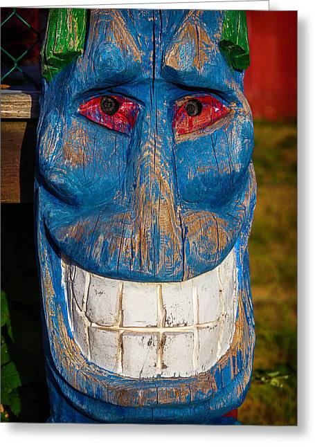Smiling Blue Totem Pole Greeting Card by Garry Gay
