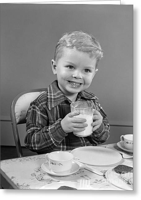 Smiling Boy With Glass Of Milk, C.1950s Greeting Card by H. Armstrong Roberts/ClassicStock
