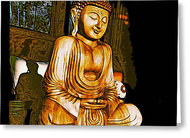 Greeting Card featuring the photograph Smiling Buddha by Paul Cutright