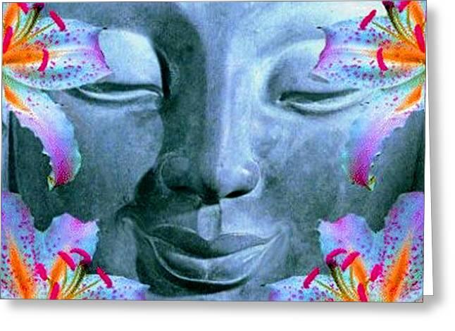 Smiling Buddha Greeting Card by Richard Copeland