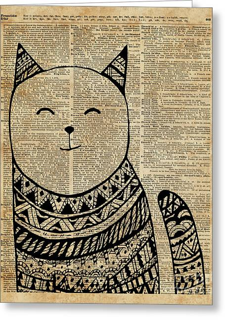 Smiling Cat Pen And Ink Zentagle Dictionary Art Greeting Card