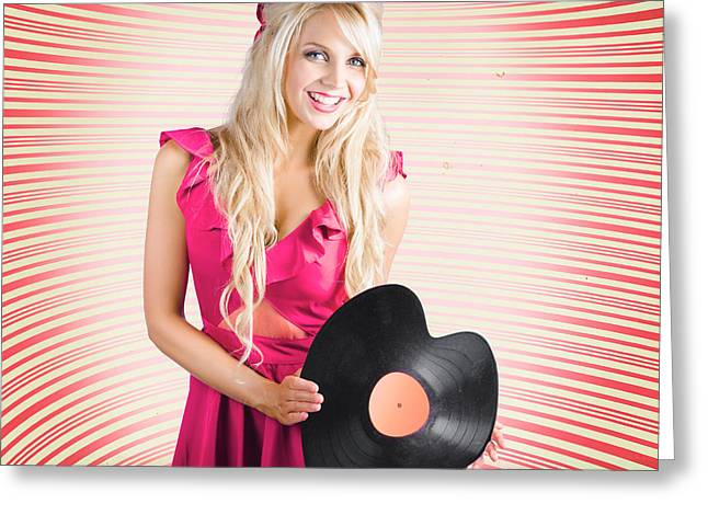 Smiling Dj Woman In Love With Retro Music Greeting Card by Jorgo Photography - Wall Art Gallery