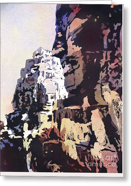 Greeting Card featuring the painting Smiling Faces- Bayon Temple, Cambodia by Ryan Fox
