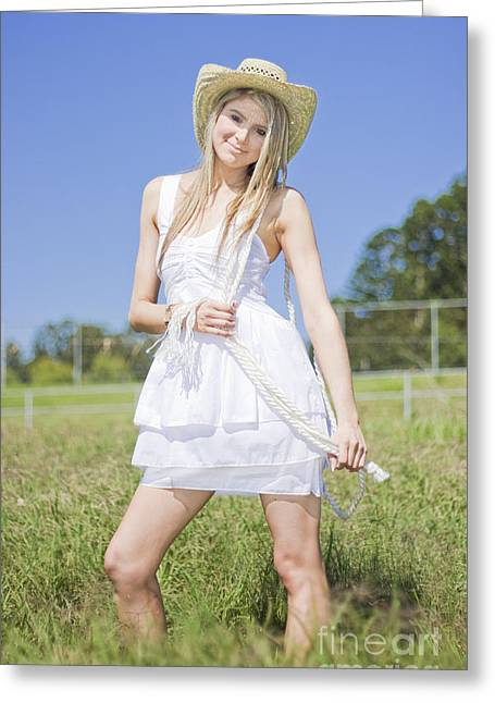 Smiling Female Farmer Greeting Card by Jorgo Photography - Wall Art Gallery