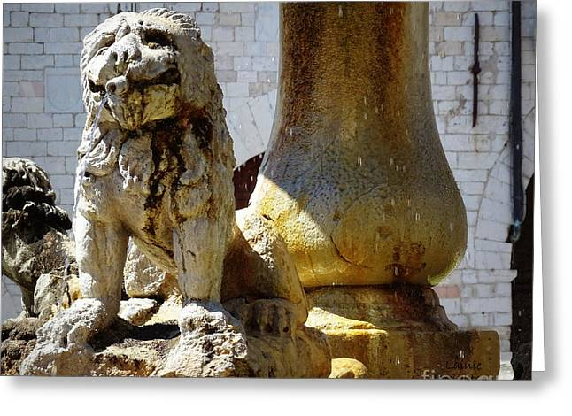 Smiling Fountain Lion Greeting Card by Lainie Wrightson