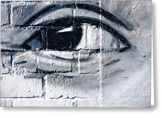 Greeting Card featuring the painting Smiling Graffiti Eye by Yurix Sardinelly