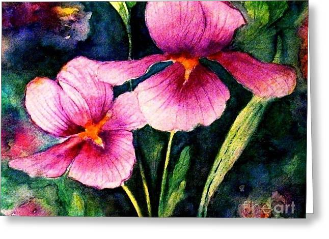 Smiling Iris Faces  Greeting Card by Hazel Holland