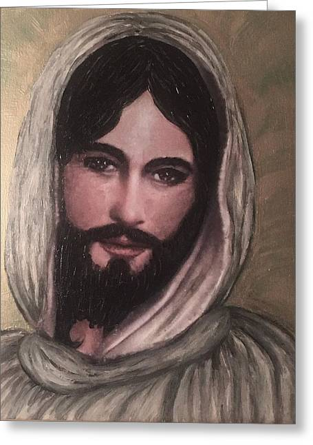 Smiling Jesus Greeting Card by Cena Caterine