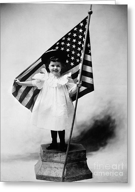 Smiling Little Girl With Us Flag Greeting Card