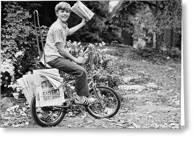 Smiling Newpaper Delivery Boy, C.1970s Greeting Card by Photo Media/ClassicStock
