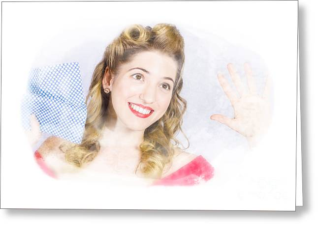Smiling Pinup Cleaner With Retro Hair And Makeup  Greeting Card