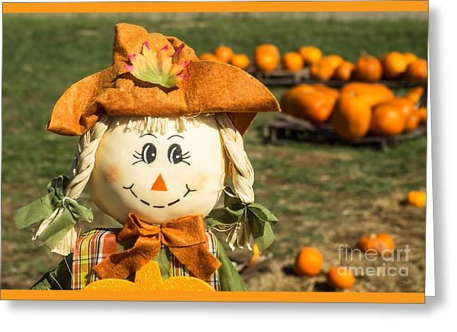Smiling Scarecrow With Pumpkins Greeting Card