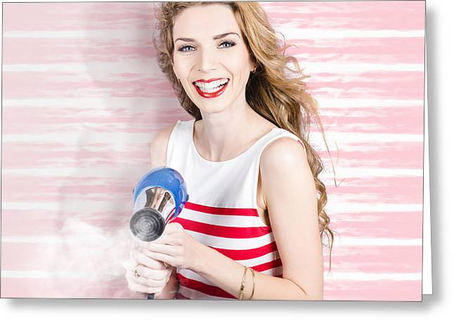 Smiling Stylist With Hair Dryer At Beauty Salon Greeting Card by Jorgo Photography - Wall Art Gallery