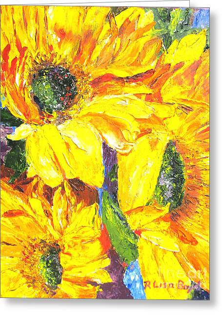 Smiling Sunflowers By Pallet Knife Greeting Card by Lisa Boyd