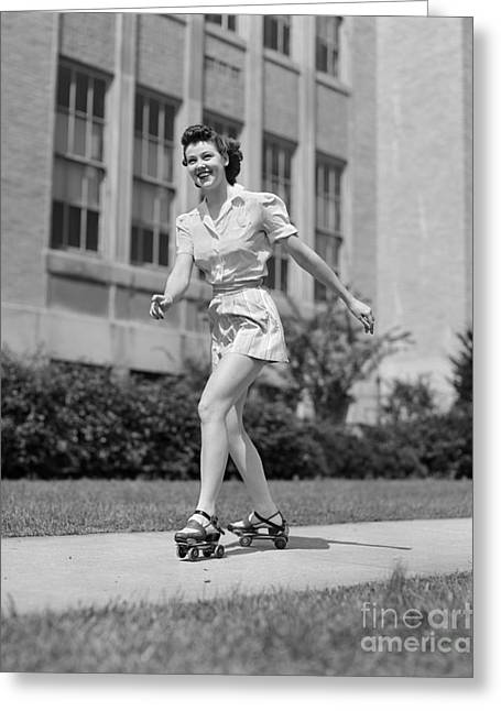 Smiling Teen Girl On Roller Skates Greeting Card by H. Armstrong Roberts/ClassicStock