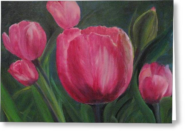 Greeting Card featuring the painting Smiling Tulips by Trilby Cole
