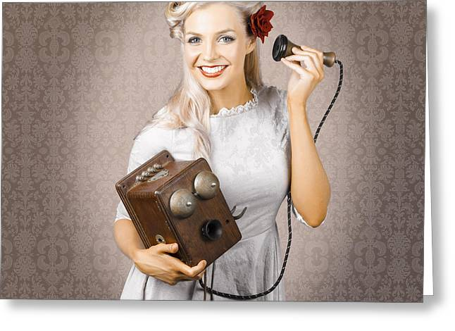 Smiling Vintage Woman Hearing Good News On Phone Greeting Card by Jorgo Photography - Wall Art Gallery
