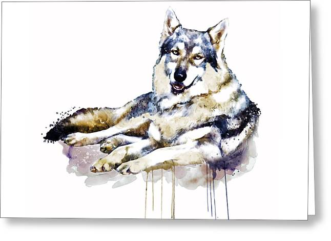 Smiling Wolf Greeting Card by Marian Voicu