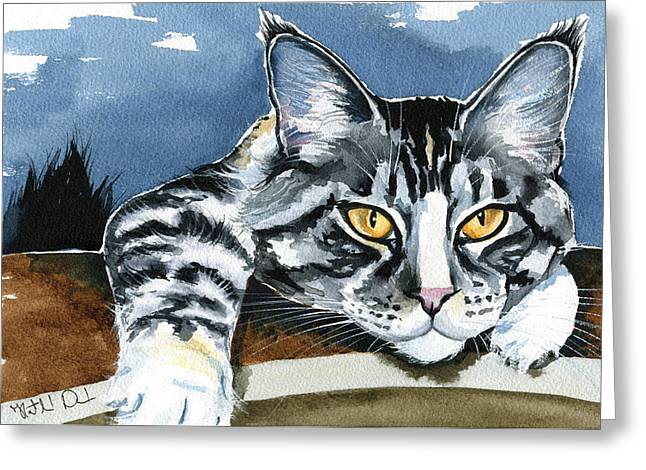 Smilla - Maine Coon Cat Painting Greeting Card