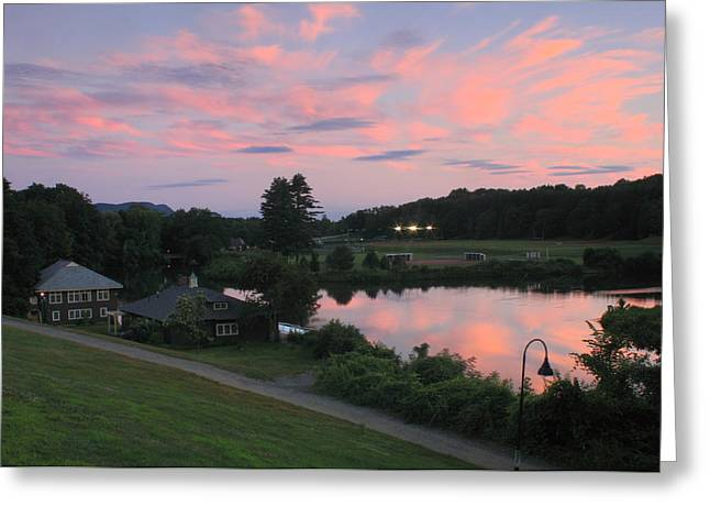 Smith College Paradise Pond Sunset Greeting Card by John Burk