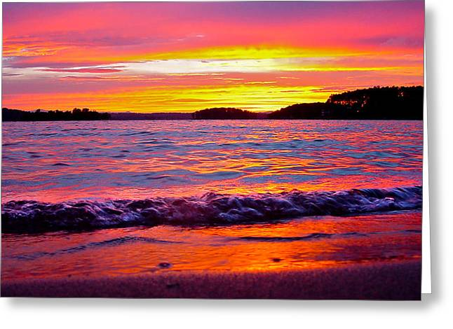 Smith Mountain Lake Surreal Sunset Greeting Card by The American Shutterbug Society