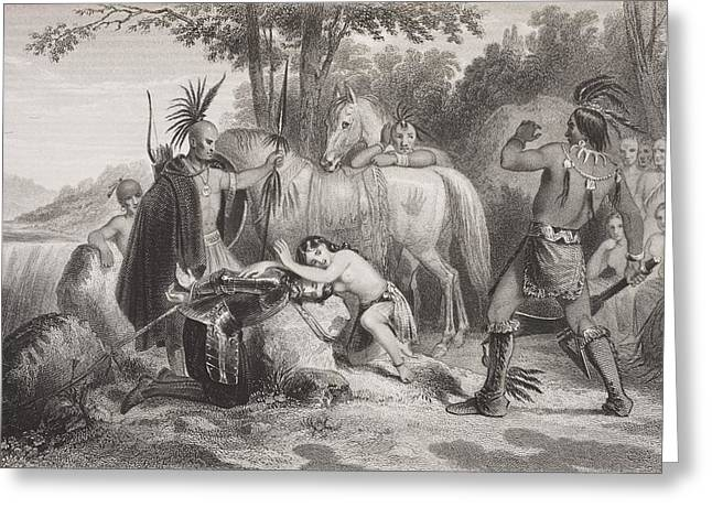 Smith Rescued By Pocahontas 1607 Greeting Card