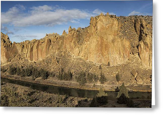Greeting Card featuring the photograph Smith Rock And Crooked River Panorama by Belinda Greb