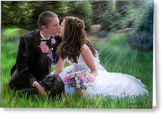 Greeting Card featuring the painting Smith Wedding Portrait by Jane Girardot