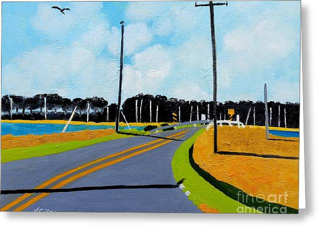 Smithville Boat Ramp Greeting Card by Lesley Giles