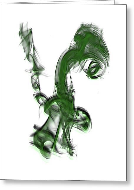 Smoke 01 - Green Greeting Card