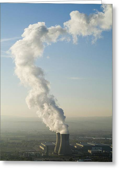 Power Plants Greeting Cards - Smoke emitting from cooling towers of Tricastin Nuclear Power Plant Greeting Card by Sami Sarkis