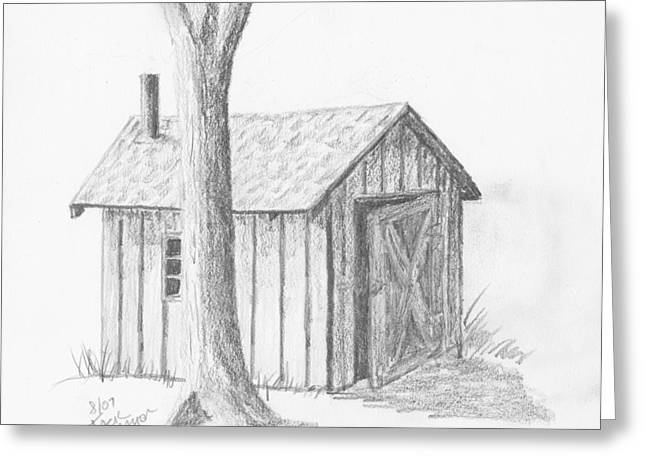 Greeting Card featuring the drawing Smoke House by Jack G  Brauer