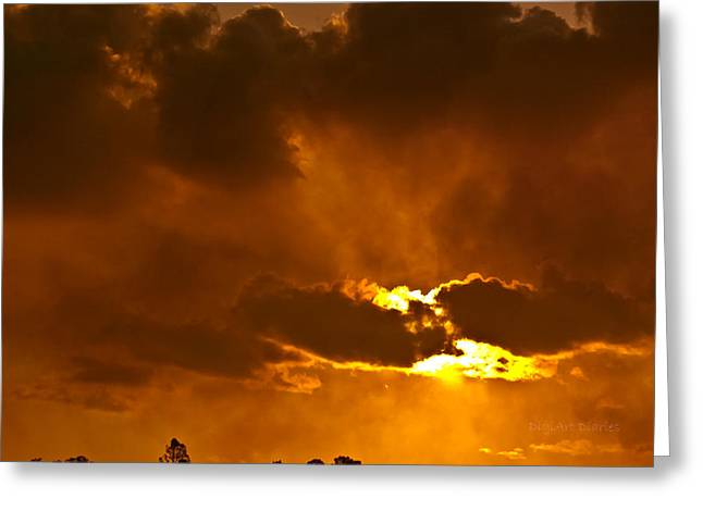 Smoke On The Horizon Greeting Card by DigiArt Diaries by Vicky B Fuller