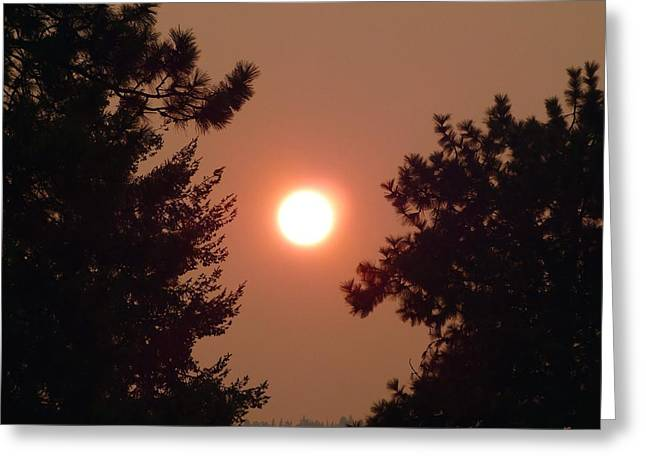 Greeting Card featuring the photograph Smoke Shrouded Sun   by Will Borden