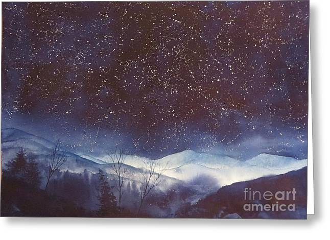 Smokey Mountain Midnight Greeting Card by Megan Richard