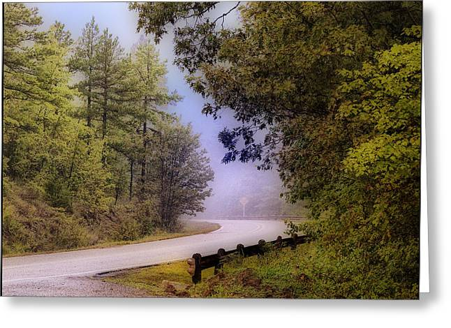 Smokey Mountain Road Greeting Card by Shirley Dawson