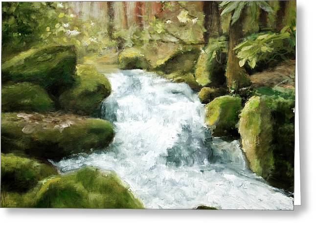 Smokey Mountain Waterfall Greeting Card