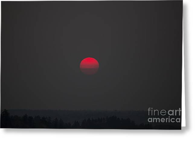 Smokey Red Sun Greeting Card by Shevin Childers