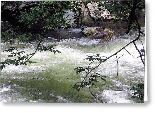 Smokey Mountains Paintings Greeting Cards - Smokey River run Greeting Card by Mary Sonya  Conti