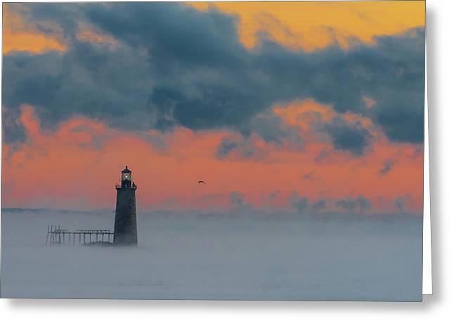 Smokey Sunrise At Ram Island Ledge Light Greeting Card