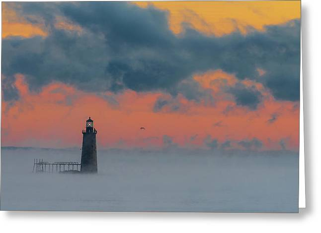 Smokey Sunrise At Ram Island Ledge Light Greeting Card