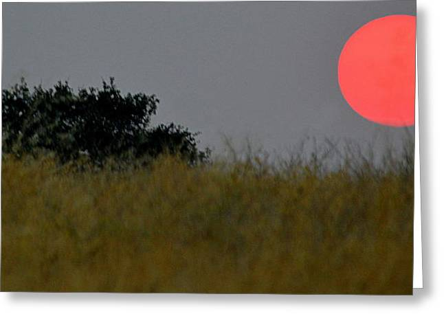 Greeting Card featuring the photograph Smokey Sunset by AJ Schibig