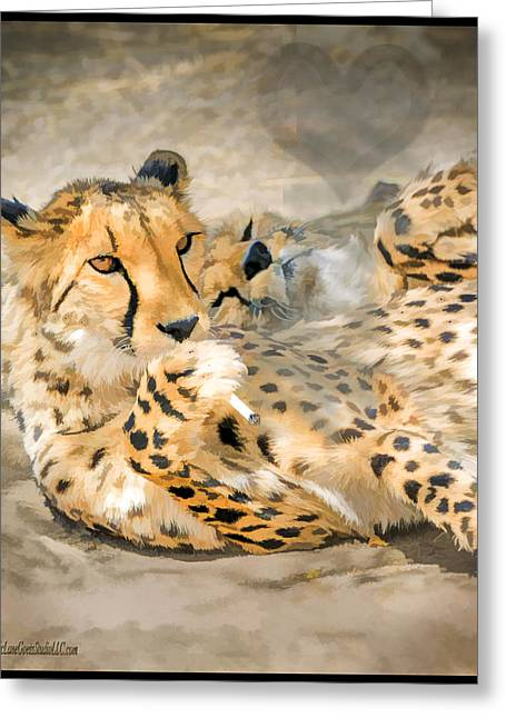 Smokin Cheetah Love Greeting Card by LeeAnn McLaneGoetz McLaneGoetzStudioLLCcom