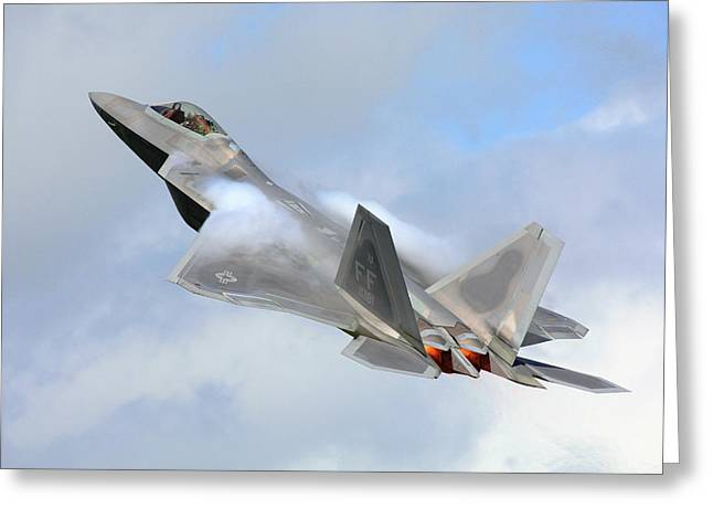 Greeting Card featuring the digital art Smokin - F22 Raptor On The Go by Pat Speirs