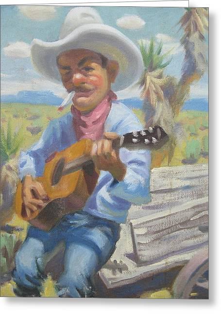 Cowboy Greeting Cards - Smokin Guitar Man Greeting Card by Texas Tim Webb